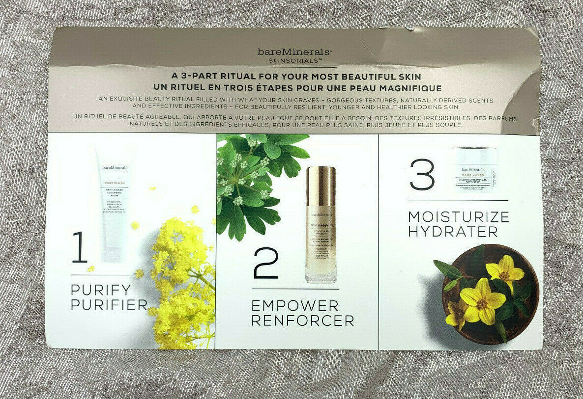 Bare Minerals A 3-Part Ritual SKINSORIALS Skin Care Set Sample Fast Free Ship NW - $4.99