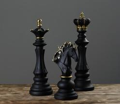 Decorative Chess Sculpture Set of 3 | Black & Gold | Ornaments Tabletop ... - $195.00