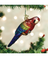 OLD WORLD CHRISTMAS TROPICAL PARROT BIRD GLASS CHRISTMAS ORNAMENT 16117 - $15.88