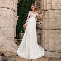 Sexy Bohemian Sheer O Neck Long Sleeve Lace Applique Long Sleeve Chiffon Bridal  image 4