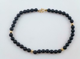 14K Yellow GOLD and BLACK ONYX Beaded BRACELET - 7 inches - FREE SHIPPING - $90.00