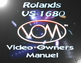 Roland VS-1680 Video Owners Manual on DVD,VERY RARE !!! - $23.33