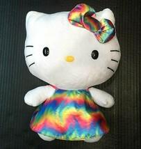 "Hello Kitty TY Sanrio Plush Cat Tie Dye Dress Bow 11"" Stuffed Animal Plu... - $12.92"
