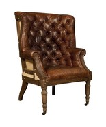 Top Grain Vintage Leather Deconstructed English Wing Chair - $1,480.05