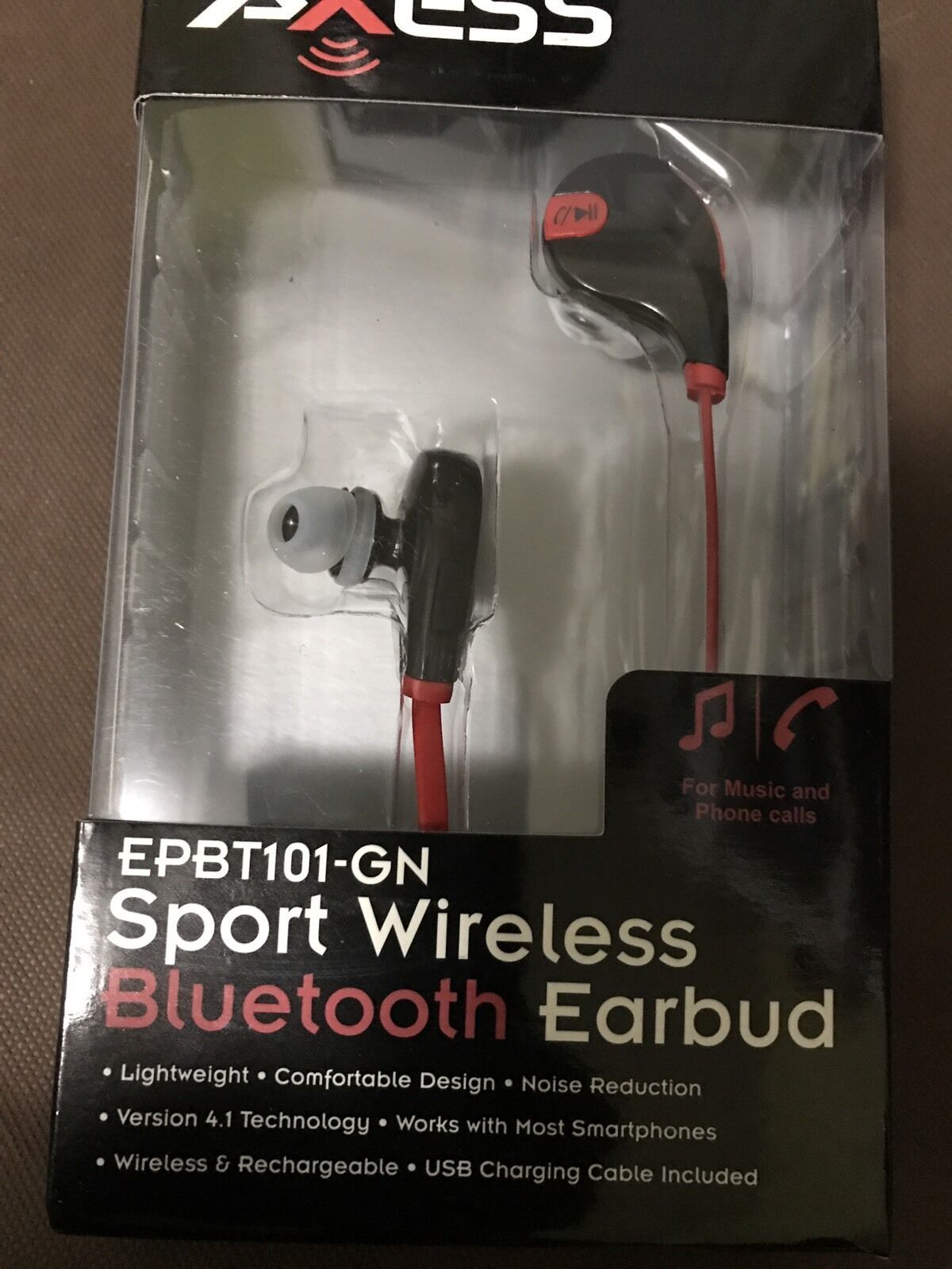 AXESS EPBT101RD Bluetooth Headphone with Hands-Free Calling Bluetooth-RED NEW