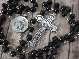 Catholic Rosary St. MICHAEL the ARCHANGEL center medal 6mm black wood beads - $26.18