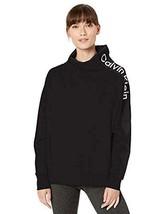 Calvin Klein Women's Performance Fleece Mock-Neck Sweatshirt, Black, Me... - $39.59