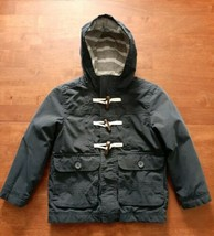 Old Navy Boys Toggle Jacket Coat Size XS 5 Navy Blue Hooded Lined Light ... - $20.78