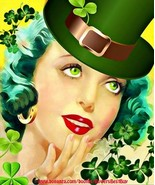 Saint Patricks Irish Leprechaun woman pinup girl art printable digital d... - $5.99