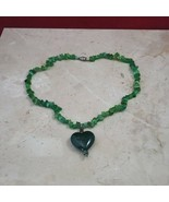 Green Heart Necklace with Green Stone Chain - $9.99