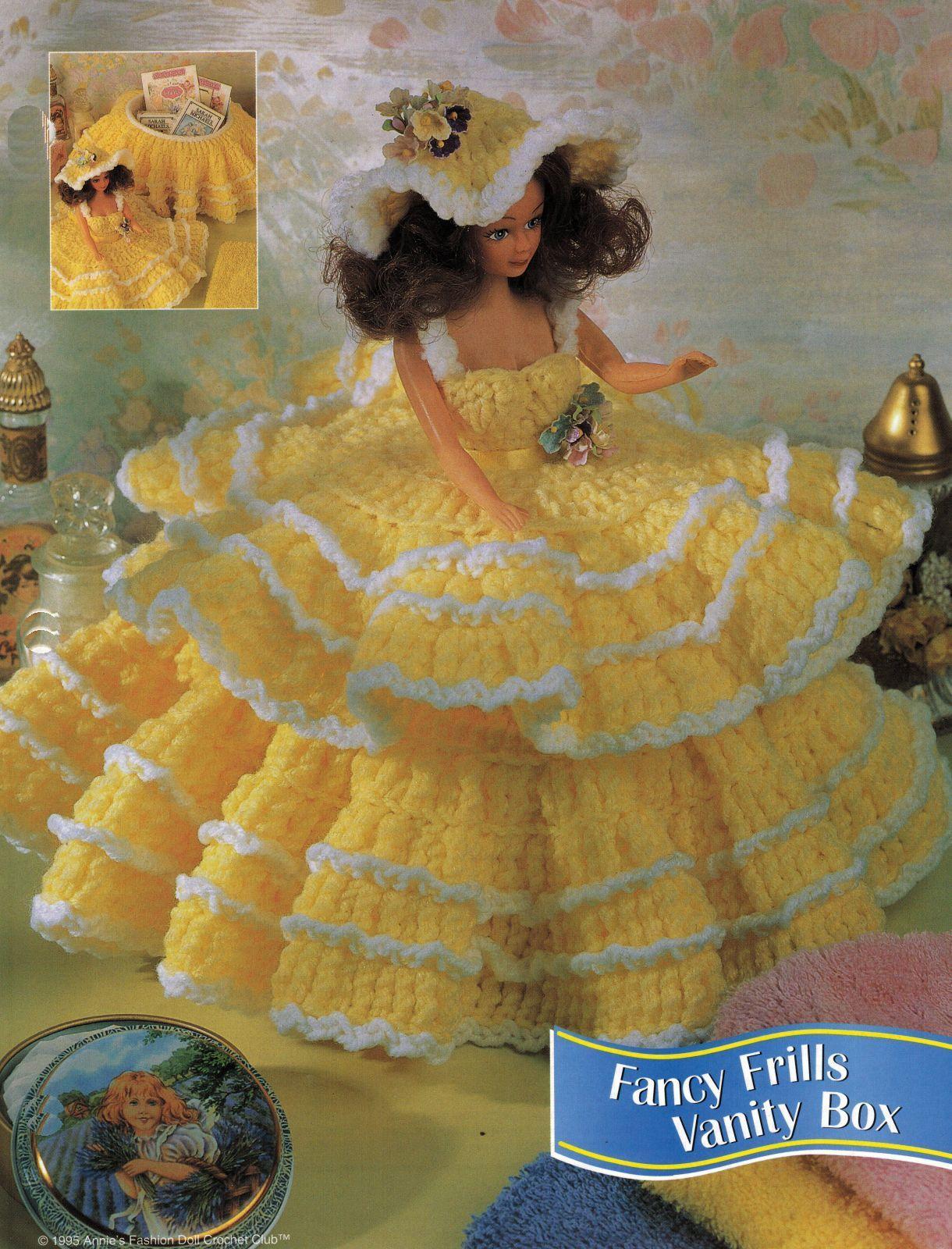 "3X Barbie 11-1/2"" Doll Angel Frills & Ruffles & Bows Trinket Box Crochet Pattern"