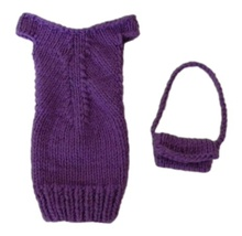 Barbie Doll Clothes Knit Purple Off Shoulder Sweater Dress and Purse Han... - $7.99