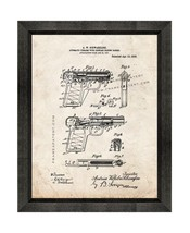 Automatic Firearm Patent Print Old Look with Beveled Wood Frame - $24.95+