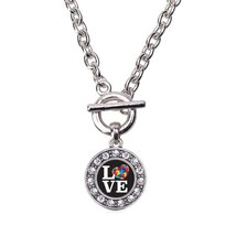 Inspired Silver Love Autism Awareness Circle Charm Toggle Necklace Clear... - $13.71