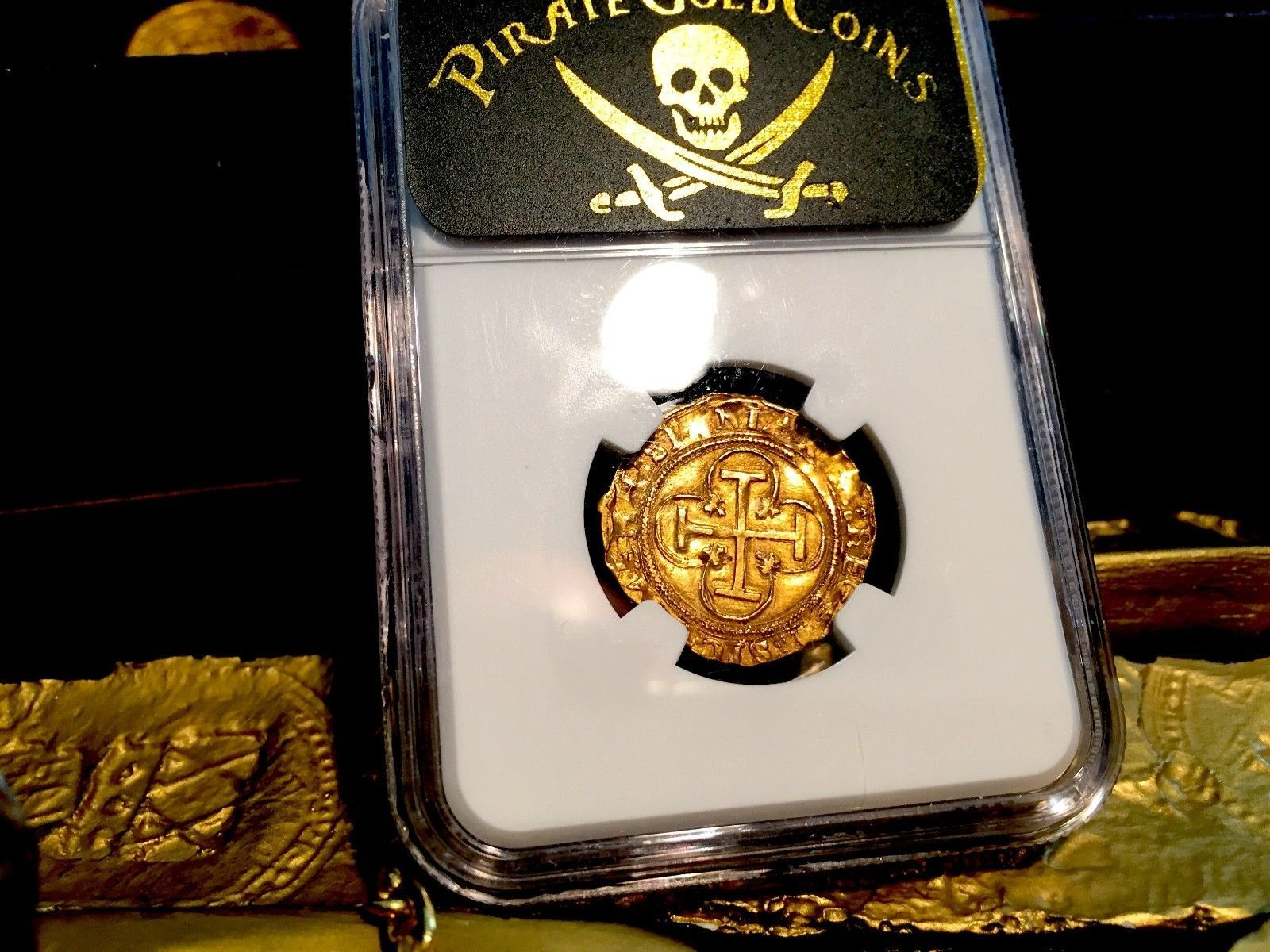 SPAIN 1516-56 1 ESCUDO FULL LEGENDS AND CROWN NGC 62 GOLD COB DOUBLOON COIN