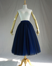Women's Tea Length Tulle Skirt Navy Tulle Skirts Navy Blue Polka dot Puffy Tutu image 1
