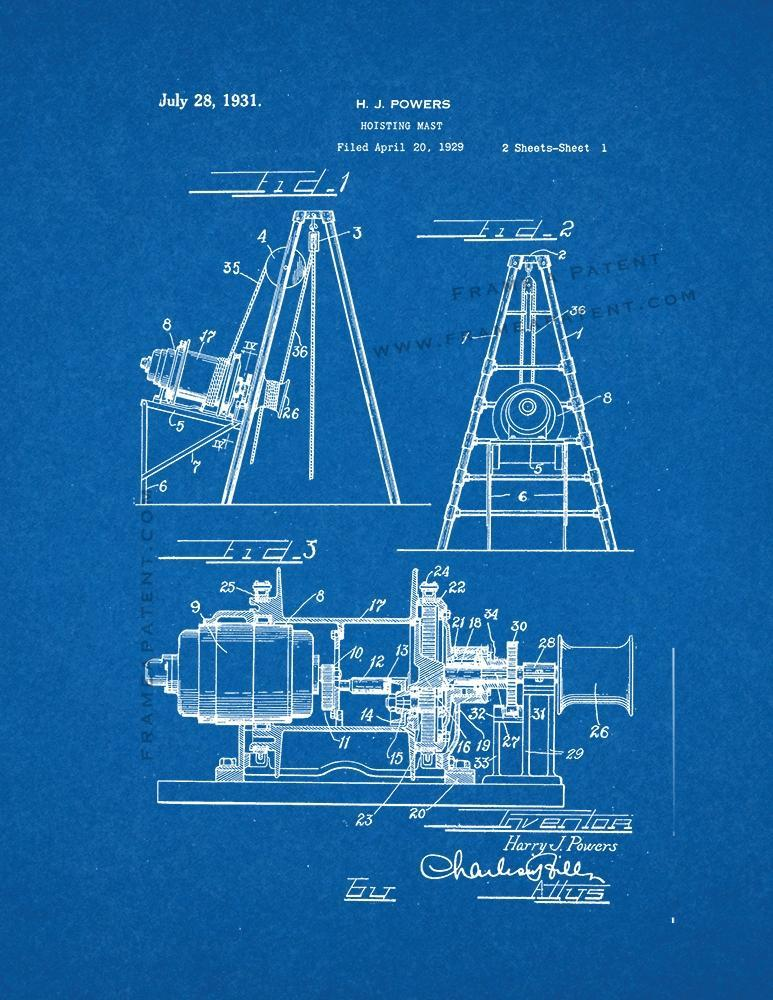 Primary image for Hoisting Mast Patent Print - Blueprint