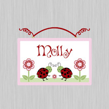 Personalized Red and Black Ladybugs Canvas on Wood Door Sign Plaque Nurs... - $19.99