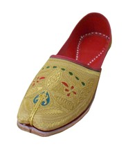 Men Shoes Handmade Ethnic Boho Mojari Leather Espadrilles Gold Jutties US 10  - $39.99
