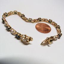 "HSN Technibond Gold Sterling Silver Sapphire Diamond Gemstone Tennis 7"" Bracelet image 9"