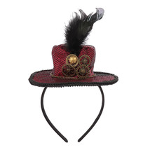Cospty Steampunk Gothic Gear Style Red Wine Feather Mini Top Hat Headband - $9.99