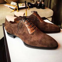 Handmade Men's Brown Lace Up Dress/Formal Suede Oxford Shoes image 2