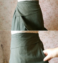 ARMY GREEN Boho Skirt Loose Long Linen Wrap Skirt Army Green Linen Skirt Outfit  image 5
