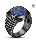 Black Gold Over Pure 925 Sterling Silver Blue Sapphire Men's Band Weddin... - $92.99