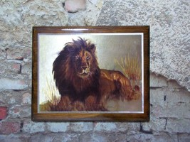 Scafa Tornabene Lion Wood Plaque Metallic Print Vintage 7 x 9 - €15,64 EUR