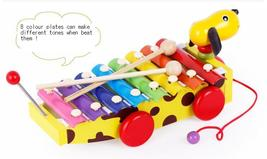 Glockenspiel Educational Music Colour Learning Wooden Dog Drag Piano Pul... - $29.99