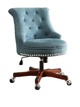 Linon Sinclair Armless Upholstered Office Chair in Aqua - $188.09