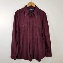 Polo Ralph Lauren Men's Woodsman Work Shirt RED Black Plaid Button Up Sz L - $24.95