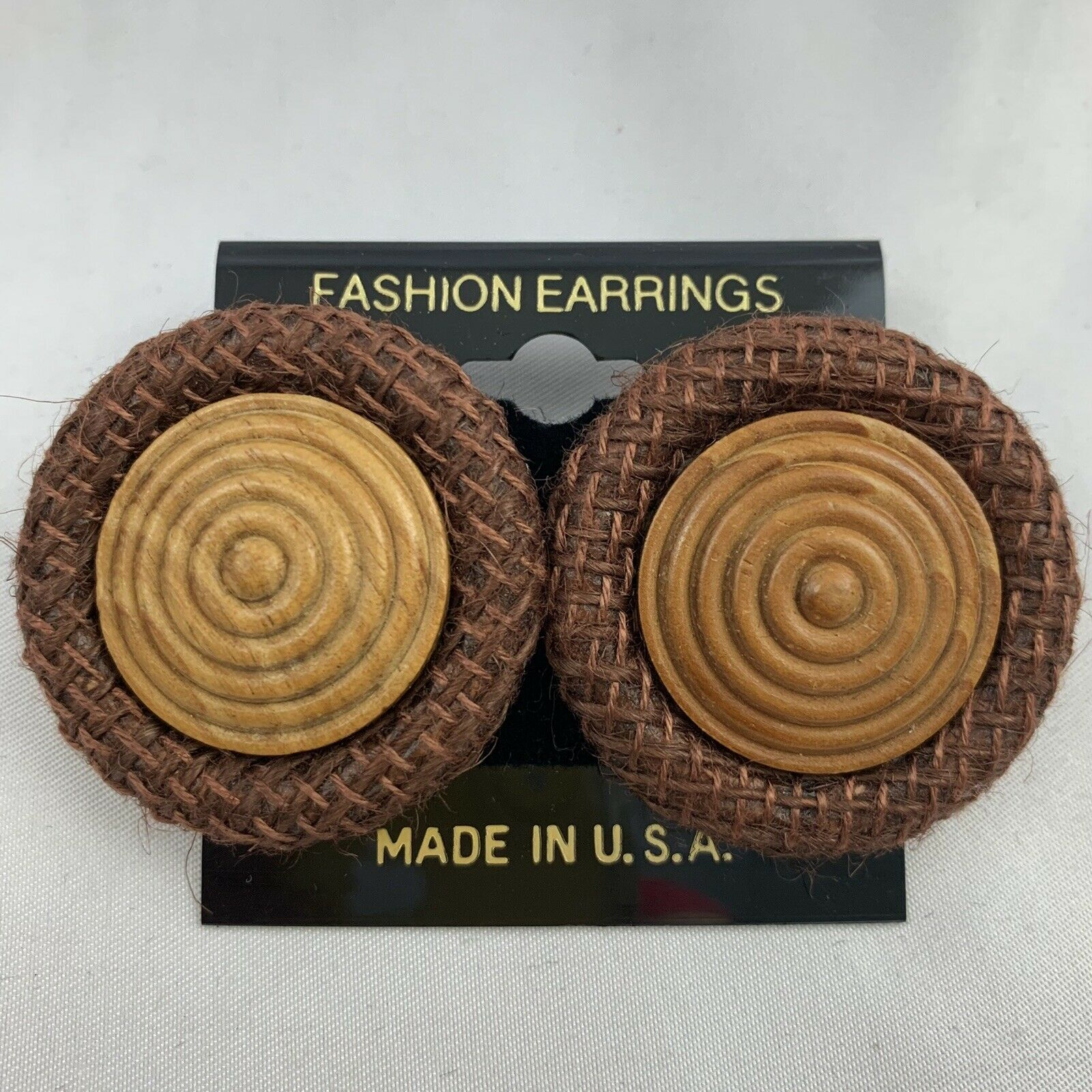 Primary image for Vintage Big Round Brown Funky Earrings NOS 80s 90s Burlap Style Fabric Wood Tone