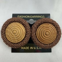 Vintage Big Round Brown Funky Earrings NOS 80s 90s Burlap Style Fabric W... - $12.58