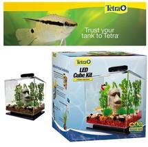 Betta fish tank LED light aquarium filter air pump lid easy clean set up... - $54.95