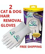 2 SwiPets Cat or Dog Hair Removal Magic Gloves Anti-Shed Washable Reusab... - $6.92
