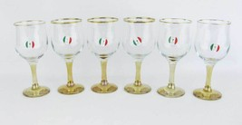 Italian Collection Crystal 'Nicol' Water~Wine Glasses Yellow Stem Gold R... - $55.00