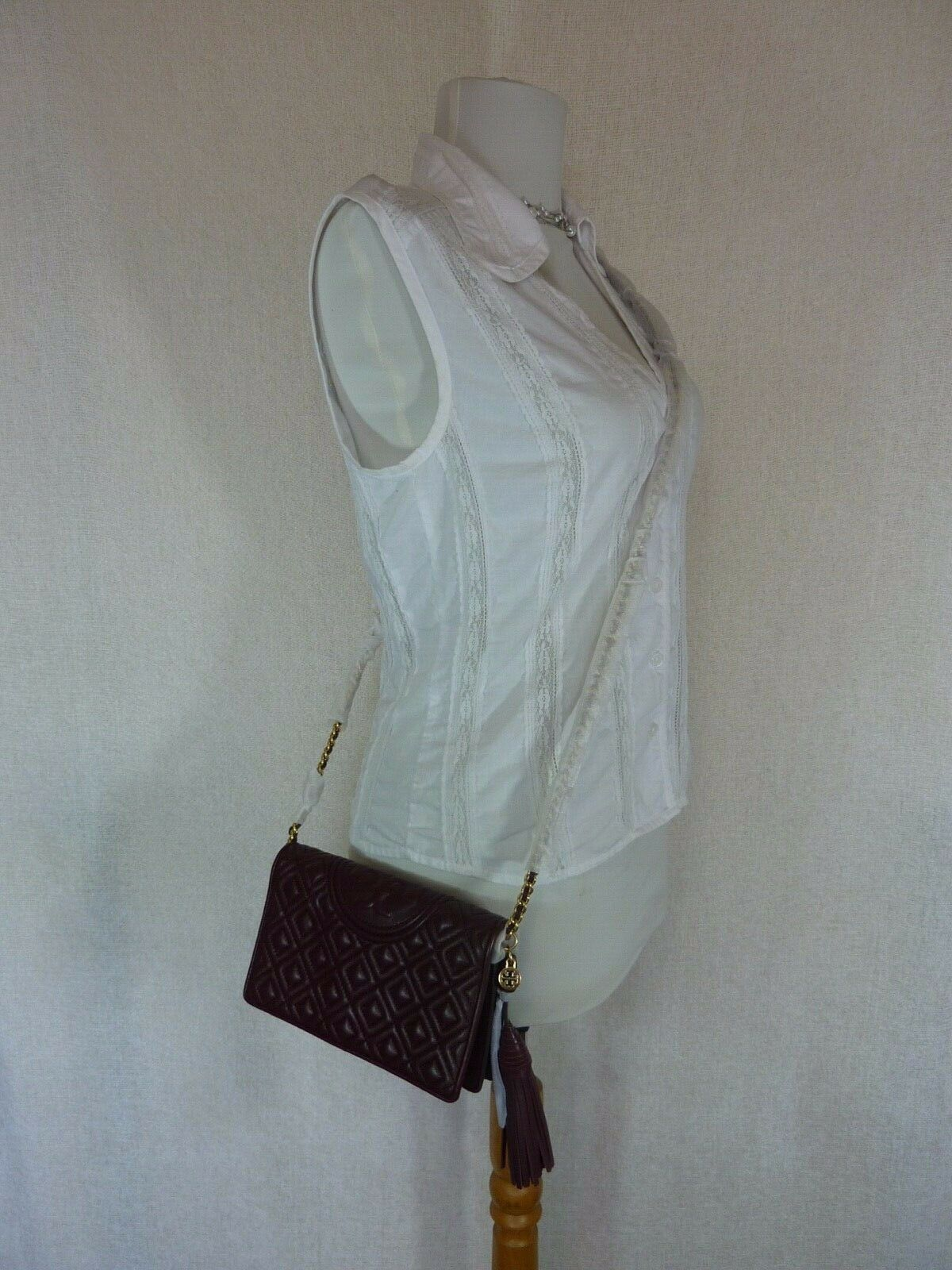 NWT Tory Burch Claret Fleming Wallet Cross Body Bag $328 image 9