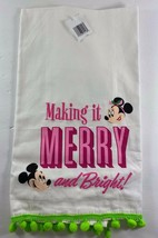 NWT Disney Parks Minnie Mickey Mouse Making It Merry Bright Tea Towel Christmas - $15.79
