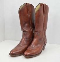 Vintage 80s Frye Mens 8.5 D 2356 W Leather Western Cowboy Boots Brown  - $115.78