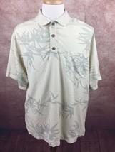 Tommy Bahama 100% Silk Short Sleeve Yellow Green Floral Print Shirt Men'... - $16.77