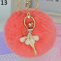 Women Keychain Fashion Cute Angel Dance Fur Balls Key Chain Fluffy Pom P... - $8.05