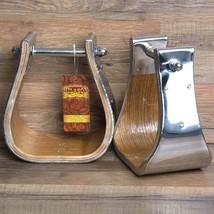 """Hilason Western Wooden W/ Steel Horse Saddle Stirrups Pair W/ 4"""" Thread U-40+S - $61.33"""