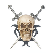 Plaques, Decorative Art For Walls, Mounting Skull Two Swords Wall Plaque - $24.58