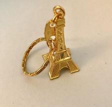 Goldtone Paris Eiffel Tower Pendant Keychain Keyring Key-fob J0307 - $4.75