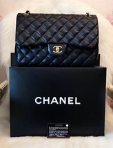 100% Authentic Chanel 2015 Black Quilted Lambskin Jumbo Classic DOUBLE Flap Bag  image 8