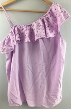 Old Navy Top L Large Purple Eyelet Cotton One Shoulder Shirt Flowy EE54 - $5.22