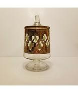 Fabulous Culver Glassware VALENCIA 22k Gold & Green Covered Candy Barware VFC - $34.95