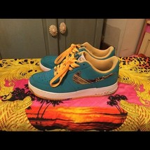 Nike Air Force One Basketball Men's Shoes Size 11 teal blue w/pattern  - $98.01