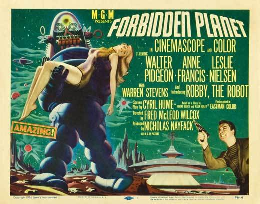 Forbidden Planet Poster 30x40 Horizontal RARE Robbie The Robot Anne Francis OOP